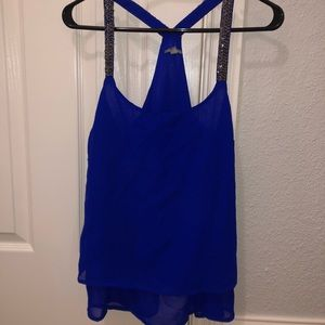 Royal blue tank with beds on straps